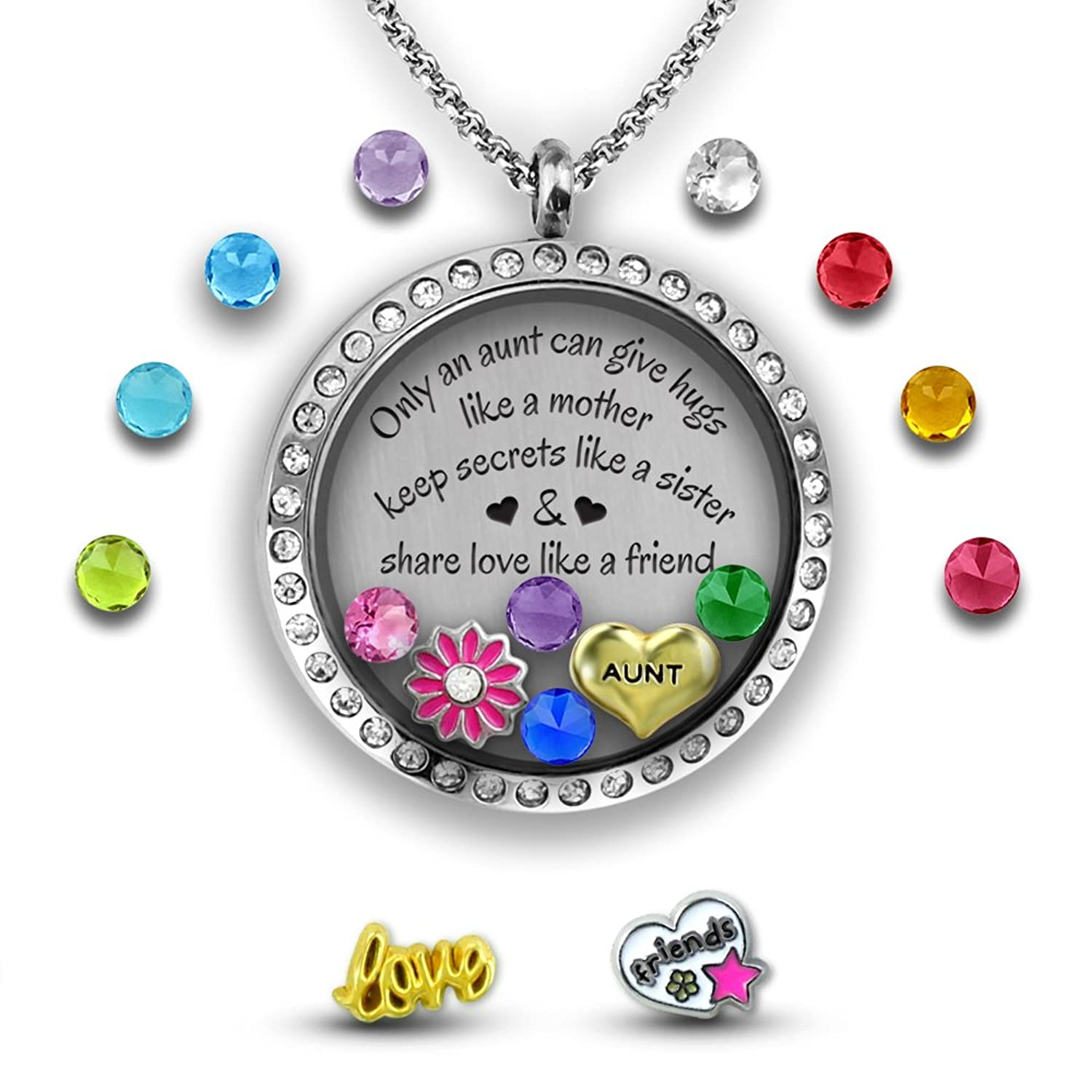 silver aunt uk co necklace with heart auntie charm on amazon chain special length jewellery is adjustable gift dp boxed diamante
