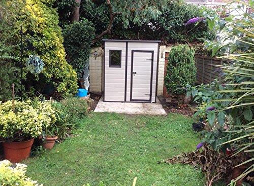 keter manor pent outdoor plastic garden storage shed 6 x 4 feet large beige amazoncouk garden outdoors