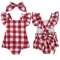 sunnymi Baby Mädchen 2 tlg Gitter Bowknot Shorts Strampler + Haarnadel Kostüm Für 0-18 Monate Bekleidungsset