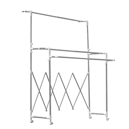 soges Mobile Portable Percheros de pie Acero Inoxidable Heavy Duty Three Rail Ropa de Rodadura Ajustable Garment Rack Laundry Dry Rack de Secado con ...