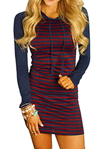 Joeoy Women's Casual Long Sleeve Drawstring Striped Bodycon Hoodie Dress