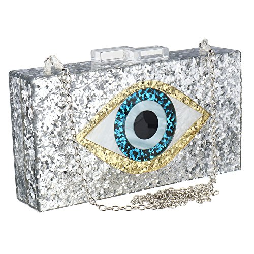 Silver Acrylic Clutch Bags Glitter Purse Perspex Bag Handbags for Women by SSMY