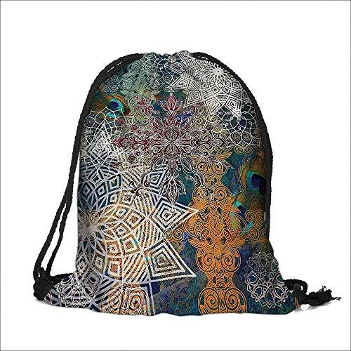 Drawstring Sacks Bundle Pocket Bag for Kids acock Feather Indian Batik Mandala Hippie Tapestry Hanging Dodroom Living Room with Drawstring Camping Travel 6.5