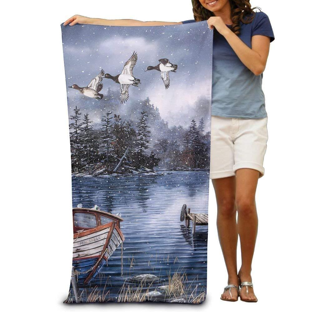 DEFFWBb Super Absorbent Beach Towel Snow Lake and Woods Ducks Boat Polyester Velvet Beach Towels 31'' X 51'' Inch