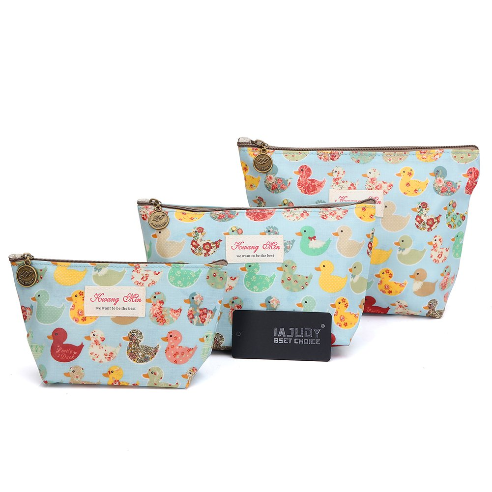b7bf19889b3e 3Pcs Waterproof Cosmetic Bag Set, Portable Travel Toiletry Pouch Makeup  Clutch Bag for Women, Girls...