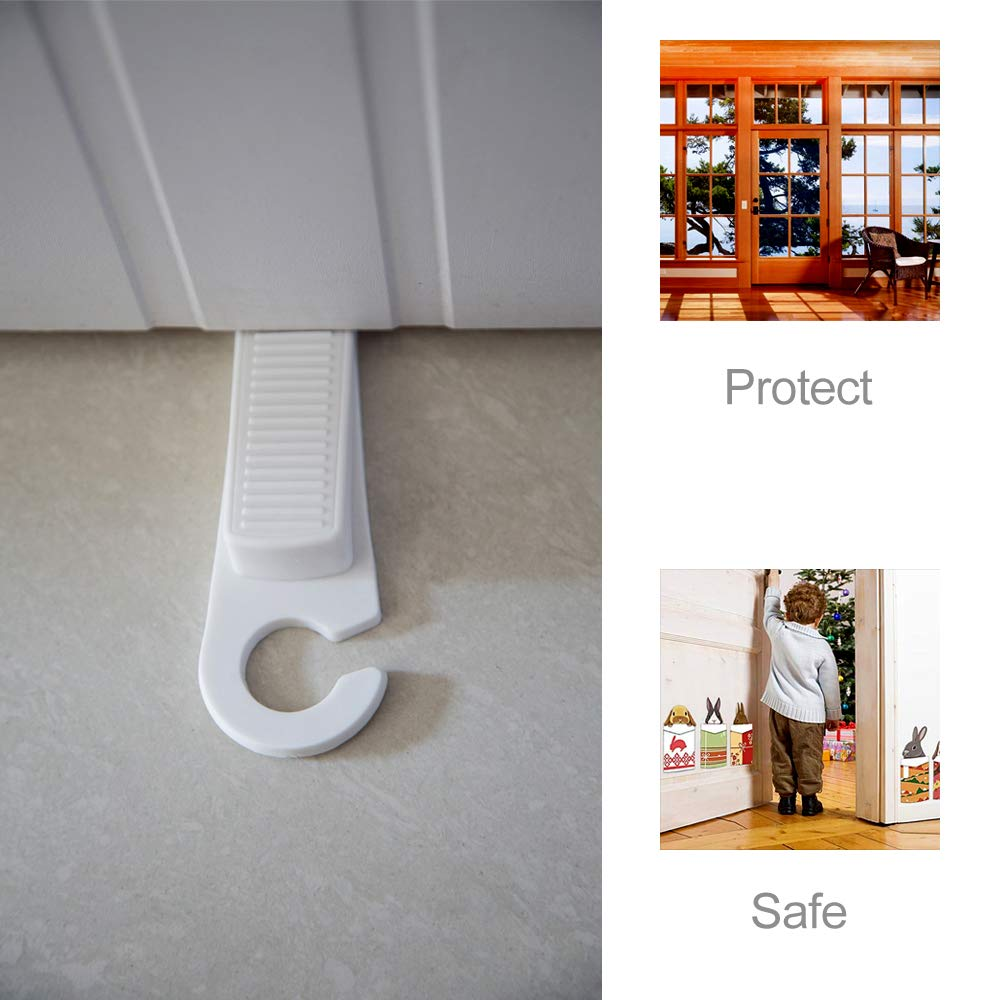 Child Safety Door Stopper Suitable for All Floor Types and Carpet Heavy Doors White Suspended Design 6 Rubber Door Stops Non-Toxic and Tasteless Anti-Skid to Prevent Door Closure