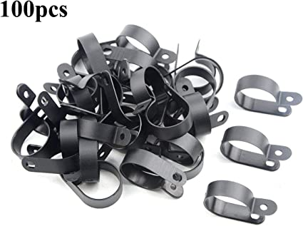 """200Pcs Nylon R Type CC-1 1//4/"""" Cable Cord Wire Clamp Clip Fastener Black"""