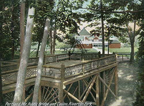 Portland, Maine - Riverton Park View of a Rustic Bridge and the Casino (36x54 Giclee Gallery Print, Wall Decor Travel Poster)