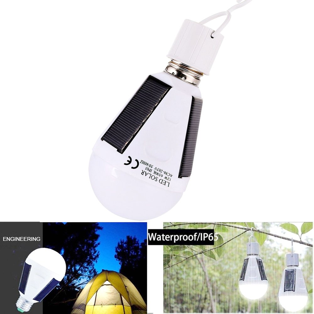 VIPMOON 2 Pack 12W Outdoor Solar LED Bulb Portable Solar Lamp for Camping, Hiking, Emergency, Hurricanes, Power Outage, Water Resistant, White