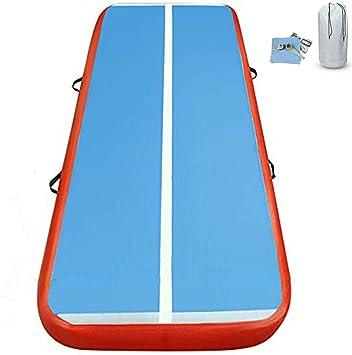 6M Tapis Gonflable de Gymnastique Airtrack Tapis Gonflable avec Pompe Bleu//Rouge