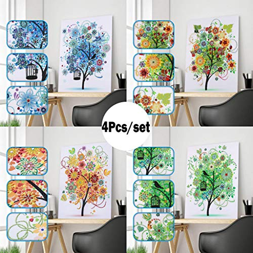 FengGa Special Shaped Diamond Painting Colorful Tree DIY 5D Partial Drill Cross Stitch Kits Crystal Rhinestone of Picture Serial Diamond Embroidery Arts Craft for Art Craft DIY Home Decoration