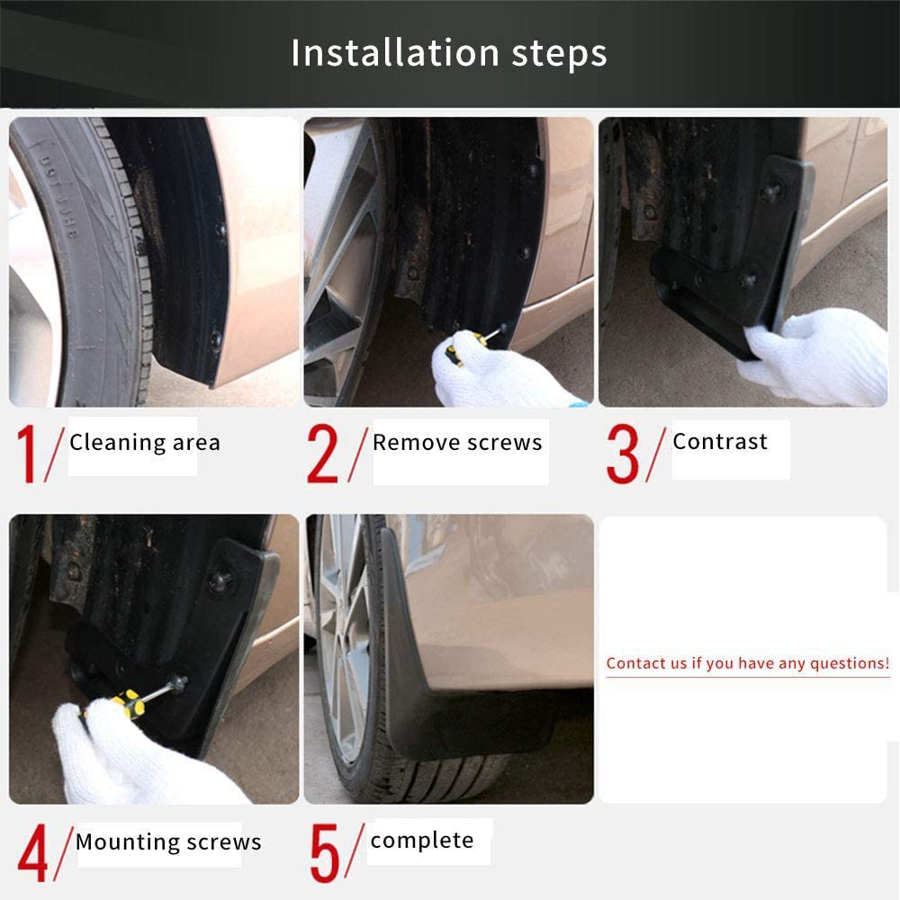 4Pcs Front 10JQK Car Mud Flaps Set for Suzuki Swift 2011 2012 2013 2014 2015 2016 Rear Mudflaps Splash Guards Flap Mudguards with Screws Full Wheel Fender Protection Replacement