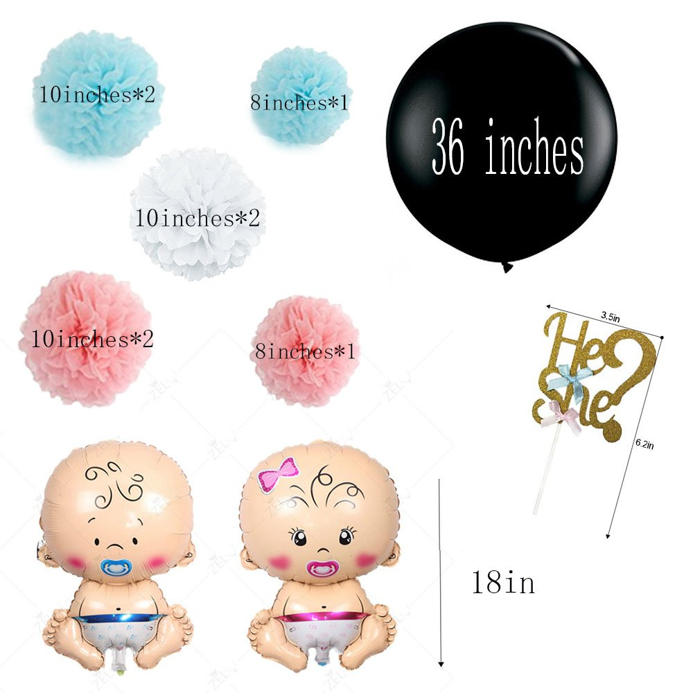 2 Baby Foil Balloons 1 Confetti Balloon 8 Pom Pom 1 Cake Topper 12 Cupcake Topper P+Co Chic Gender Reveal Party 25 PCS Set Decoration Celebrations Boy Or Girl? 1 Banner
