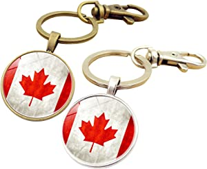 Key Chains Rings Keychains Canada Ca Flag Round Model Clip Hooks Men Women Retractable Decorations Loop Clasp 2 pcs【1797】 (1GOLD&1SILVER)