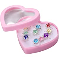 Toyvian 12PCS Little Girl Adjustable Rings in Box Children Kids Pretend Play and Dress up Rings