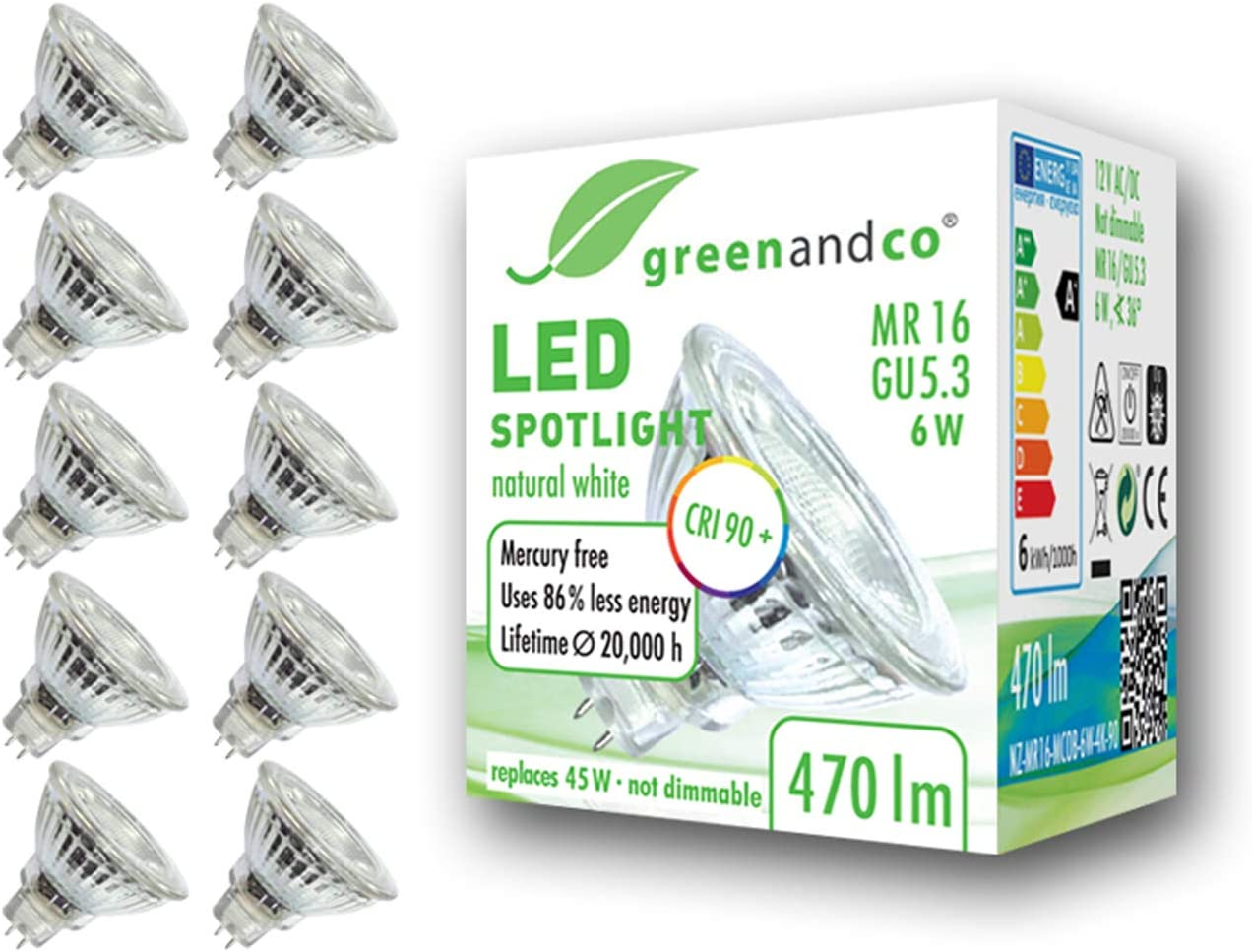 10x Spot LED greenandco® IRC 90+ 4000K 36° GU5.3 MR16 6W (corresponde a 45W) 470lm SMD LED 12V AC/DC, no regulable