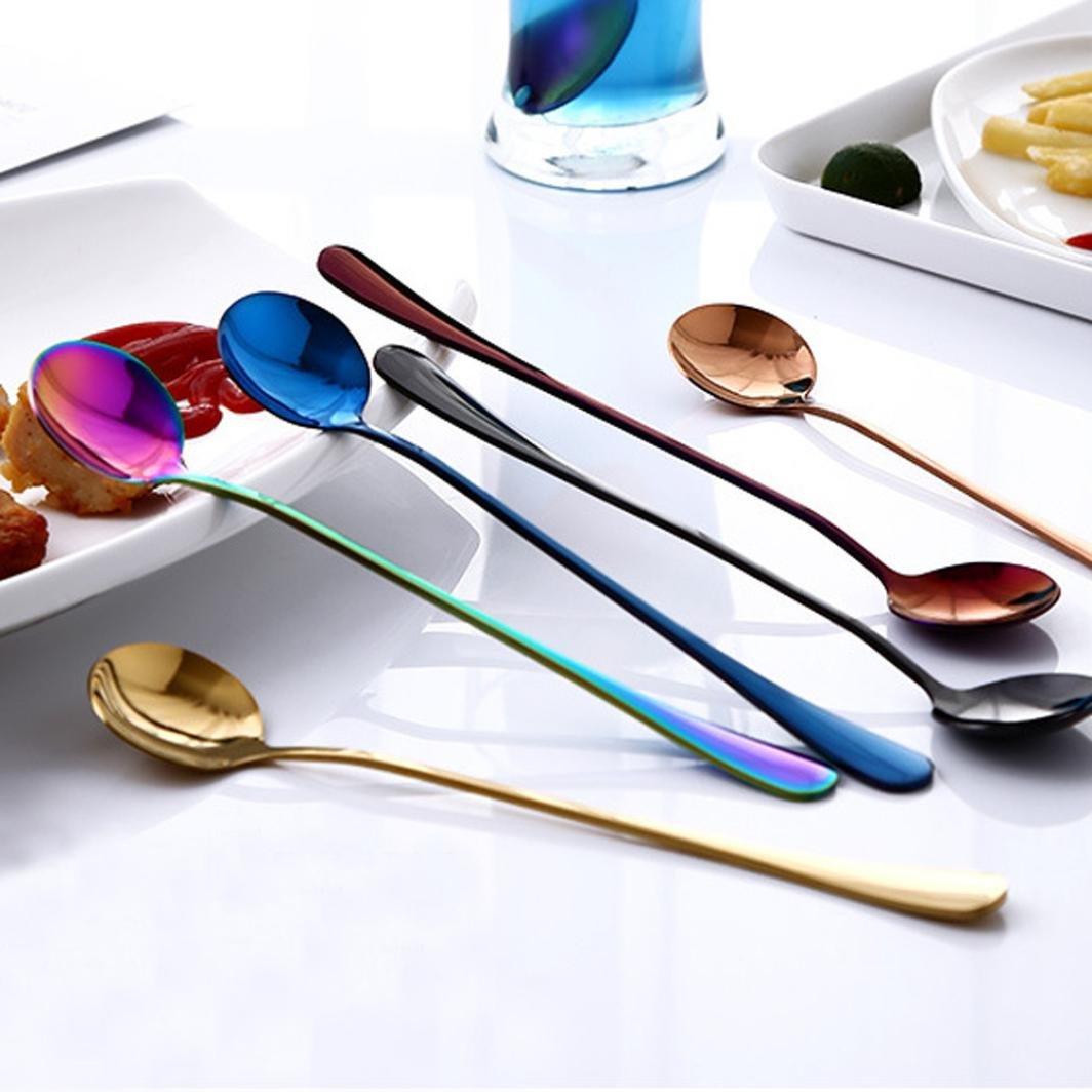 Cuill/ère /à long manche Hunpta color/é Cuill/ère /à long manche Couverts Cuill/ères /à Caf/é boire outils Gadget de Cuisine Argent