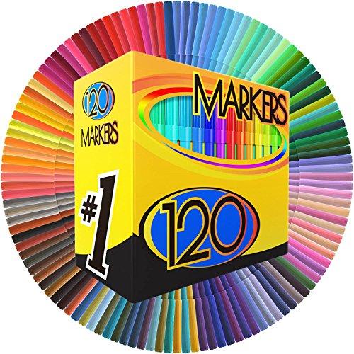 Color-Markers-Set-SET-OF-120-UNIQUE-VIBRANT-COLORS-Completely-Washable-Fine-Bullet-Felt-Tip-Pen-Size-Barrel-Perfect-for-Adult-Coloring-School-Projects-Doodling-More