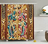 Mirryderr Balinese Decor Shower Curtain Set, Temple Door in Indonesia with Traditional Carved Golden Leaves Flowers Patterns, Bathroom Accessories, Gold brown