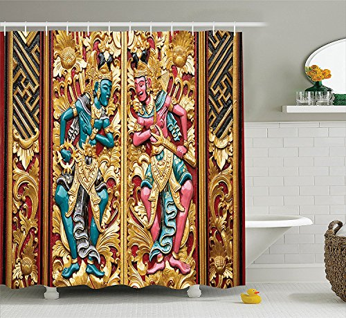 Mirryderr Balinese Decor Shower Curtain Set, Temple Door in Indonesia with Traditional Carved Golden Leaves Flowers Patterns, Bathroom Accessories, Gold brown by Mirryderr