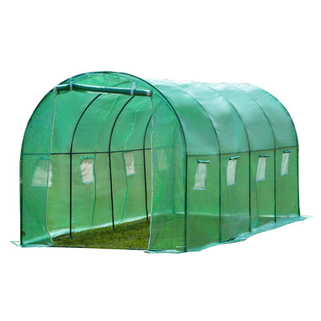 4HOMART Outdoor Green House 13'x7'x7' Walk-in Greenhouse with PE Cover,Strong Metal Frame,8 Windows and 1 Door with Roll-Up Zipper Door Plant Garden Green House