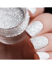 Nacido bastante 10 ml/caja para uñas Glitter Tips Color blanco polvo de plata 1