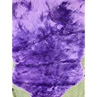 Deluxe Soft Faux Sheepskin Chair Cover Seat Pad Shaggy Area Rugs For Bedroom Sofa Floor (5ft x 7ft, Purple)