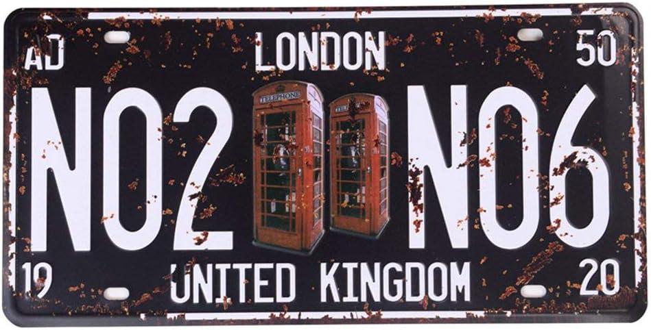 LONDON Shinewe Auto License Plate Car Tag Home//Cafe Bar//Pub//Restaurant//Exhibition Wall Decor Vintage Plaque 15x30cm