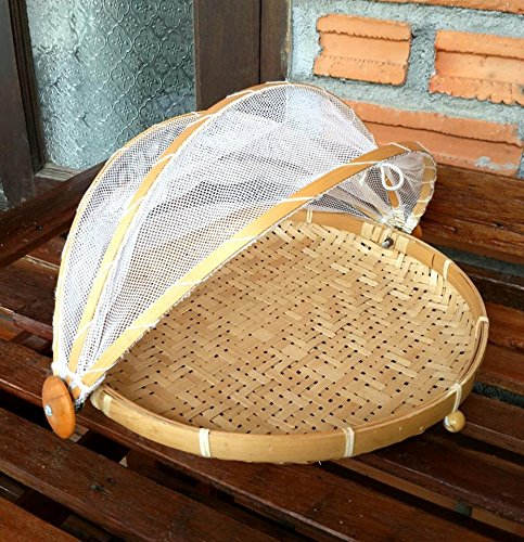 Natural Bamboo Woven Mesh Food Cover Prevent mosquito flies(Free Gift Mulberry Paper Key chain Handmade)