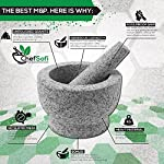 ChefSofi Mortar and Pestle Set - 6 Inch - 2 Cup Capacity - Unpolished Heavy Granite for Enhanced Performance and Organic Appearance - INCLUDED: Anti-Scratch Protector + Italian Recipes EBook 13 A kitchen must-have: Mortar and pestle set (mortero de cocina - morter and pessel - molcajete or guacamole bowl and pestel) has been used for THOUSANDS of years as THE way to crush, grind and powder herbs and dry spices. Contrary to an electric grinder or crusher, the age-old, durable, traditional manual grinding method ensures that all cooking ingredients bring out their full flavor and aroma profiles, allowing you to further control their texture and make delicious, chunk-free dishes. Versatile tool: Take advantage of your brand new stone motar and pedestal set's various applications in the kitchen and simplify your everyday life! Use your mortor to pulverize nuts, seeds, ginger root and garlic and make homemade salad dressing, sauces and condiments, such as fresh mustard, quacamole, pesto, salsa, chutneys and more. Widely used in pharmacies and apothecaries, your molcajete set will help you powder pills, for optimal ingestion, or hide them in your stubborn pet's kibble! Effortless use: This ChefSofi stone mocajetes motor & pedestal set was designed with your convenience in mind. Made from unpolished granite, you will waste no time fumbling or stabilizing your pestal masher, as our motar's cup interior provides the best, metate-like natural friction for swift ingredient crushing, grinding or powdering. With a 500 ml (approx. 2 Cup) capacity, this stone mortor also reduces the need for ingredient refills, affording quick food prep, in one go!