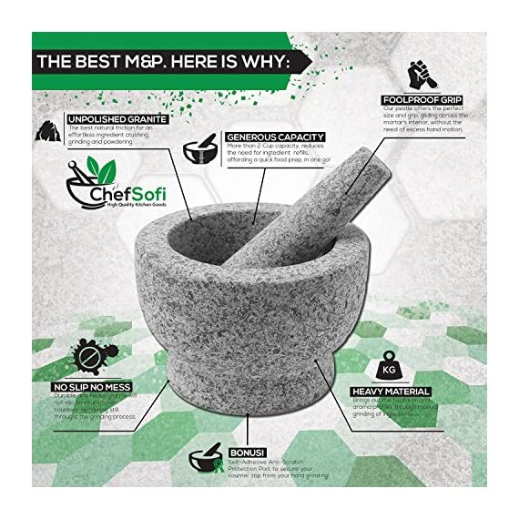ChefSofi Mortar and Pestle Set - 6 Inch - 2 Cup Capacity - Unpolished Heavy Granite for Enhanced Performance and Organic Appearance - INCLUDED: Anti-Scratch Protector + Italian Recipes EBook 4 A kitchen must-have: Mortar and pestle set (mortero de cocina - morter and pessel - molcajete or guacamole bowl and pestel) has been used for THOUSANDS of years as THE way to crush, grind and powder herbs and dry spices. Contrary to an electric grinder or crusher, the age-old, durable, traditional manual grinding method ensures that all cooking ingredients bring out their full flavor and aroma profiles, allowing you to further control their texture and make delicious, chunk-free dishes. Versatile tool: Take advantage of your brand new stone motar and pedestal set's various applications in the kitchen and simplify your everyday life! Use your mortor to pulverize nuts, seeds, ginger root and garlic and make homemade salad dressing, sauces and condiments, such as fresh mustard, quacamole, pesto, salsa, chutneys and more. Widely used in pharmacies and apothecaries, your molcajete set will help you powder pills, for optimal ingestion, or hide them in your stubborn pet's kibble! Effortless use: This ChefSofi stone mocajetes motor & pedestal set was designed with your convenience in mind. Made from unpolished granite, you will waste no time fumbling or stabilizing your pestal masher, as our motar's cup interior provides the best, metate-like natural friction for swift ingredient crushing, grinding or powdering. With a 500 ml (approx. 2 Cup) capacity, this stone mortor also reduces the need for ingredient refills, affording quick food prep, in one go!