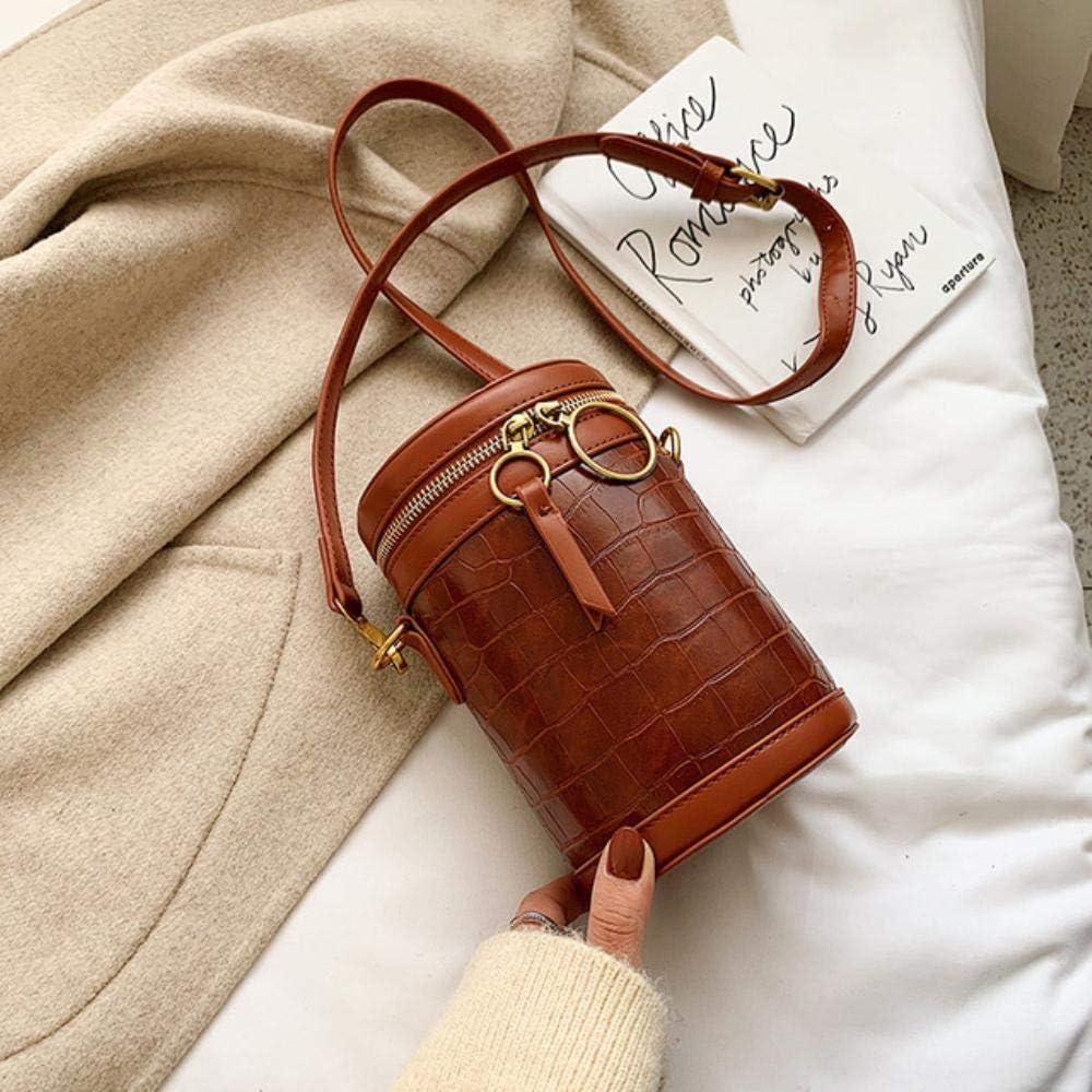 BBY Bolso Bandolera de Cuero cilíndrico Bolso Bandolera de Hombro con patrón de Piedra para Mujer Bolsos de Viaje, marrón, 12x18x11cm