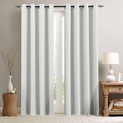 Amazon Com Vangao Greyish White Room Darkening Draperies Thermal