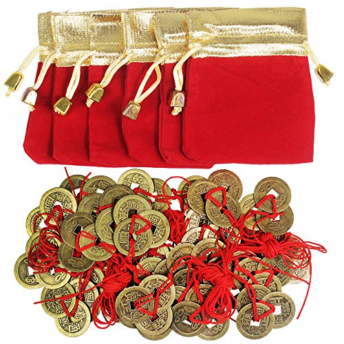 Supla 30 Pcs Chinese 3 Brass Coins Knotted with Red Ribbon and 6 Pcs Red Gold Lucky Bags Feng Shui Coins Lucky Coins Fortune Coins for Wealth Health Success Chinese New Year Decoration