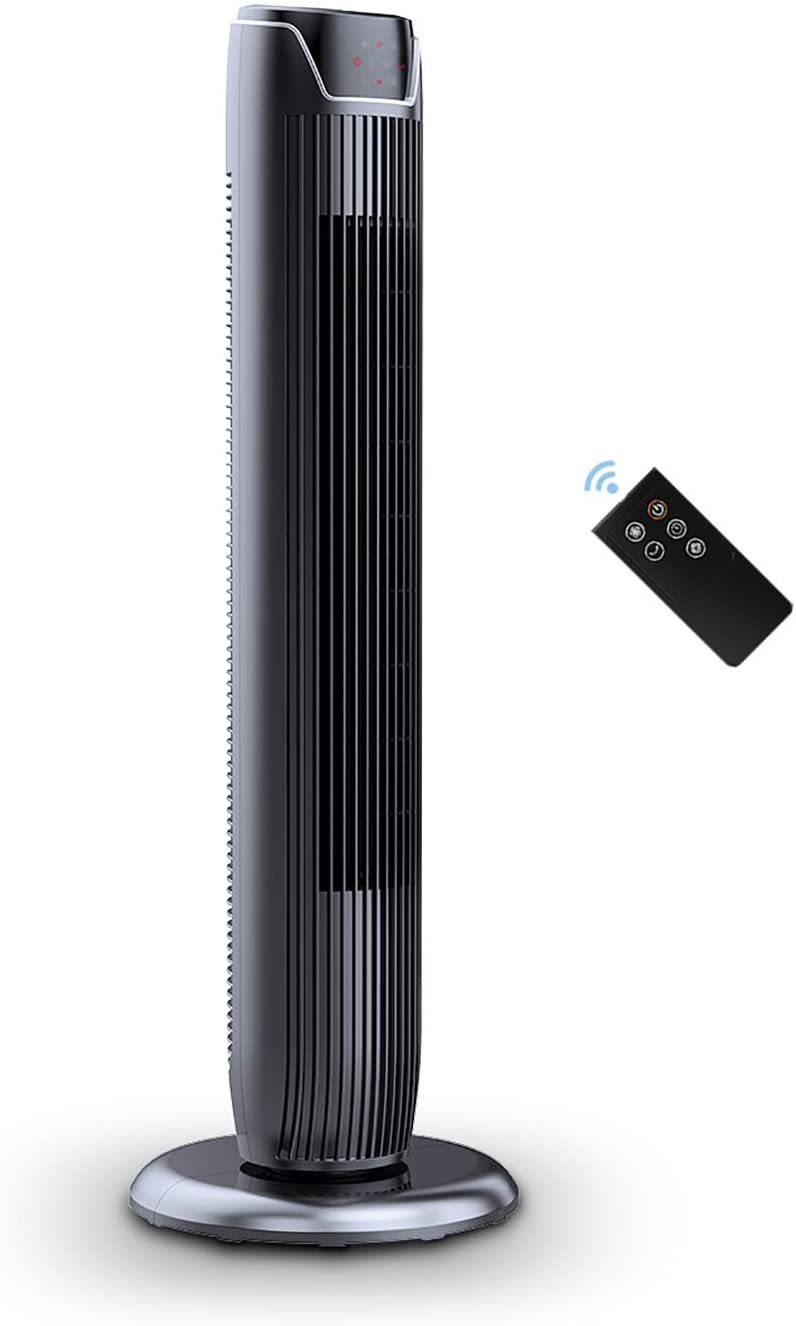 "Pelonis FZ10-19JR 36"" Quiet Oscillating Tower Fan with LED Display, Remote Control, 3 Speeds and Modes, 7h Programmed Timer for Home and Office, Glossy Black"