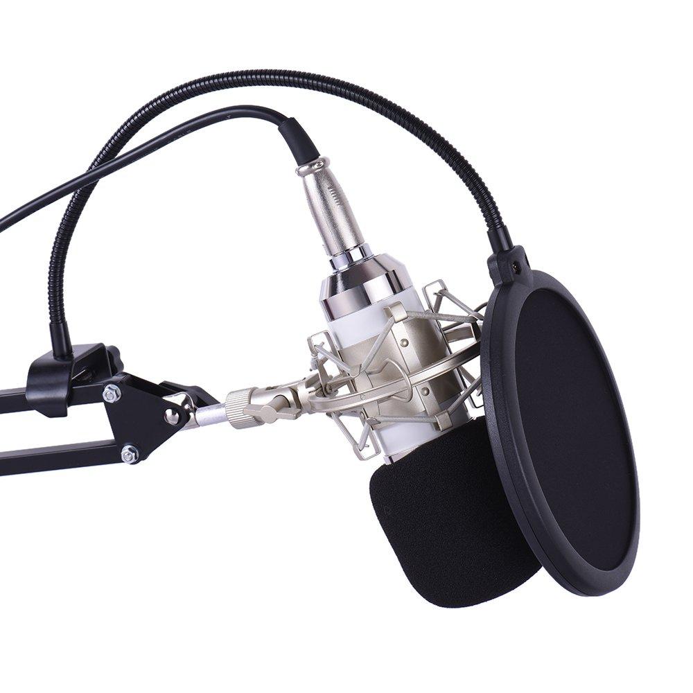 ammoon Professionnel Broadcasting Studio Recording Microphone /à Condensateur Mic Kit avec Monture Silent Suspension R/églable Scissor Bras Support de Montage Clamp Pop Filter