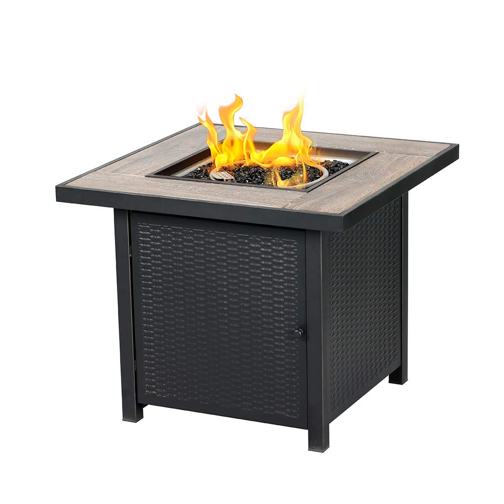 BALI OUTDOORS Propane Gas Fire Pit Table, 30 inch 50,000 BTU Square Gas Firepits with Fire Glass for Outside by BALI OUTDOORS