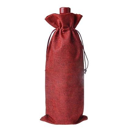BESTONZON 10pcs Burlap Botella de Vino Bolsas con cordón ...