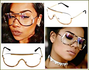e5afe848b9 Image Unavailable. Image not available for. Color  Oversize Vintage Retro  Shield Style Clear Lens Eye Glasses Rose Gold Metal Frame