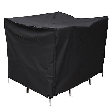 CLE DE TOUS - Funda para Muebles de Jardín terraza Exterior Impermeable Cubierta Protectora de poliester PE Color Negro (122 x 112 x 98cm)