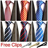 Jeatonge Lot 6 Pcs Mens Ties and 3 Free Tie Clips, Men's Classic Tie Necktie Woven Jacquard Neck Ties Gift box packing (Style 1)