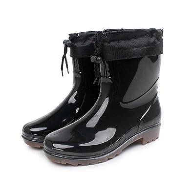 Männer Regen Schuhe Warm Anti-Rutsch Wasserdicht Regen Stiefel , black , 41