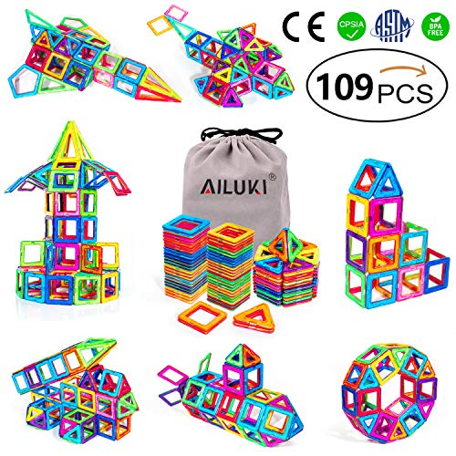 Triangle Shape Magnet - AILUKI Magnetic Blocks, 109 PCS Magnetic Building Blocks Set Strong Magnetic Stacking Blocks for Children Educational and Creative Imagination Development,All Blocks are Magnetic,No Plastic Tiles