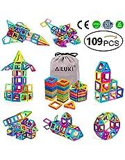 AILUKI Magnetische bouwstenen, 109 stuks, doe-het-zelf, creatieve 3D-magnetische bouwblokken, bouwblokken, huistoren, auto, speelgoed, verjaardag, kinderdag, cadeau voor kleine kinderen, met opbergzak