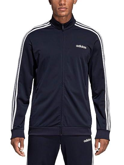 Adidas Men/'s Essentials 3 Stripe Track Tricot Jacket Navy Grey