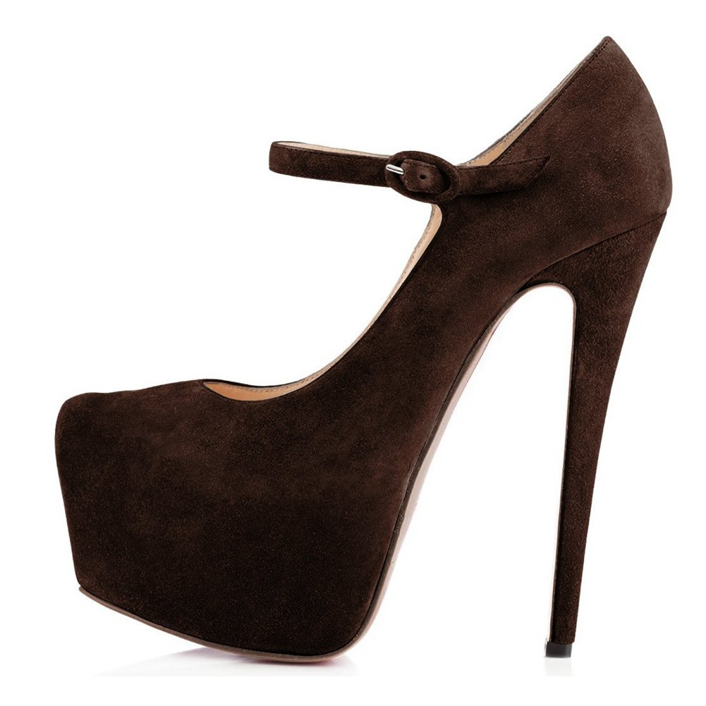 Suede Brown UMEXI Plaform Pumps Ankle Strap Stiletto High Heels Wedding Party Dress shoes for Women