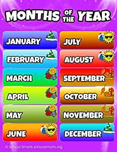 Amazoncom Months Of The Year Chart By School Smarts Fully