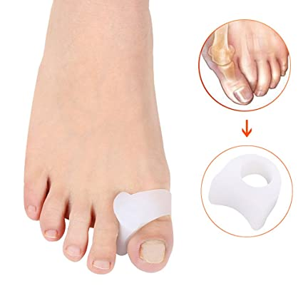 PBFONE 2 pares de separadores de dedos de los pies de gel para aliviar el dolor de los juanetes ...
