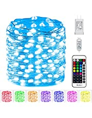 Fairy Lights Plug in - 33 FT. 100 LED USB Powered 16 Multi Colors Changing Fairy String Lights with Remote and 13 Flashing Modes for DIY Party Indoor Outdoor Decor Adapter Included