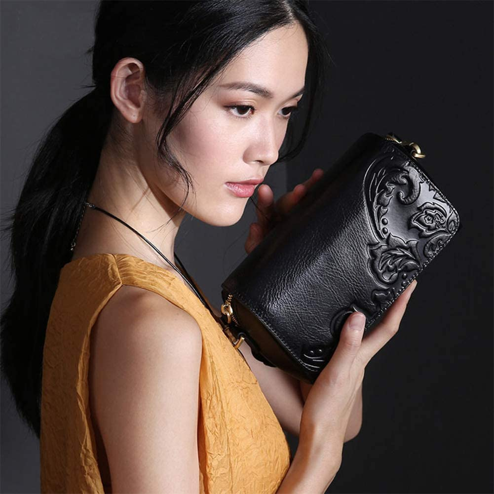 Yoome Genuine Leather Embossed Shoulder Bags for Women Ladies Crossbody Satchel Small Purse